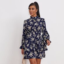 Floral Print Layered Hem Dress