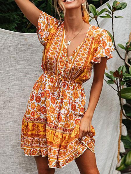 Milanoo Vestido de verano Vestido de playa de mezcla de algodon con estampado floral y cuello en V rosa