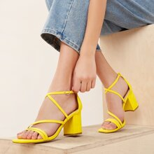 Strappy Square Open Toe Ankle Strap Heeled Sandals