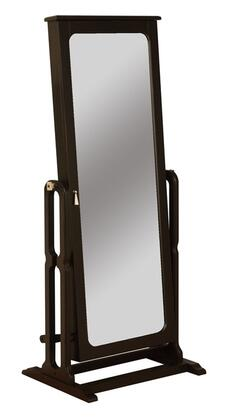 Cheval Collection 502-551 60 Jewelry Wardrobe with Brown Lined Storage Compartments  Full Adjustable Mirror and Antique Brass Hooks in Antique Black