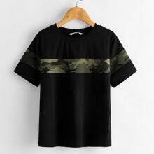 Camiseta de niños de color combinado de camuflaje