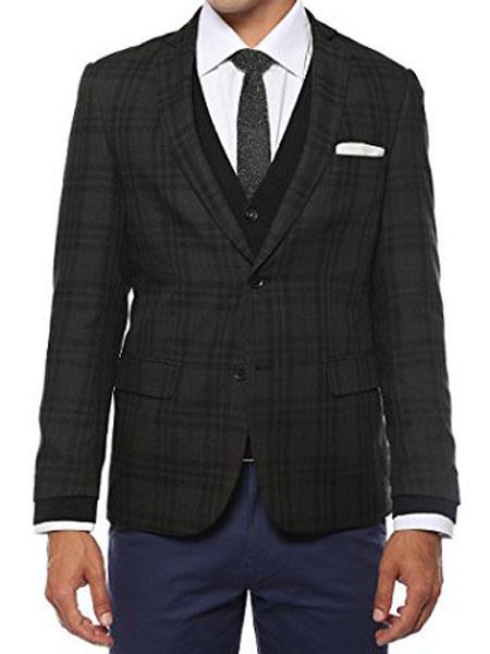Ferrecci Mens Plaid Slim Fit Charcoal Vested Blazer Dinner Jacket