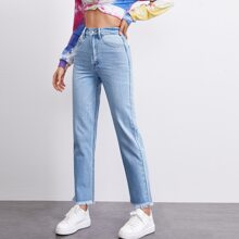 High Waist Raw Hem Straight Jeans