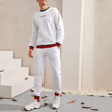 Pullover & Jogginghose Set mit Buchstaben Stickereien und Streifen