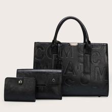 3pcs Letter Graphic Satchel Bag Set