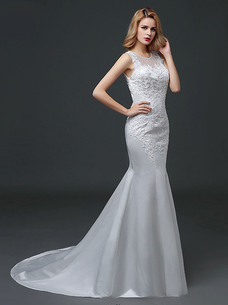 Milanoo Mermaid Wedding Dresses Lace Applique Satin  Wedding Gown Beading Illusion Chapel Train Bridal Dress