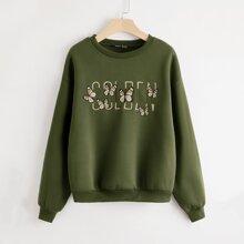 Butterfly & Letter Embroidered Drop Shoulder Sweatshirt