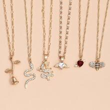 6 Stuecke Halskette mit Drachen Anhaenger
