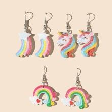 3pairs Unicorn Star Rainbow Drop Earrings