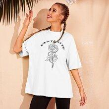 Weiss Gebluemt  Laessig T-Shirts