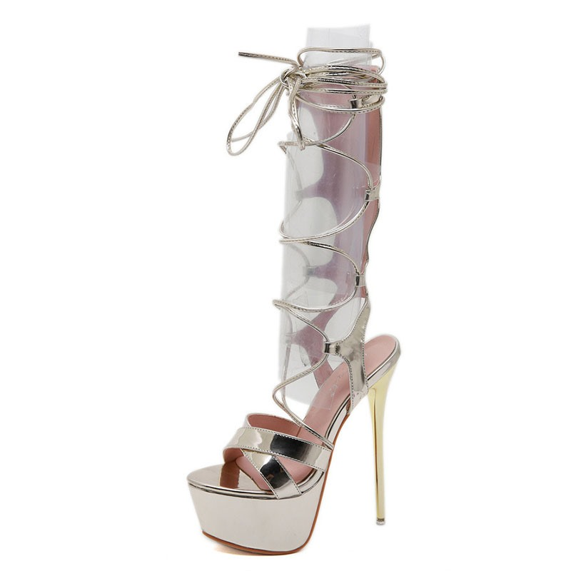 Ericdress Open Toe Lace-Up Western Stiletto Sandals