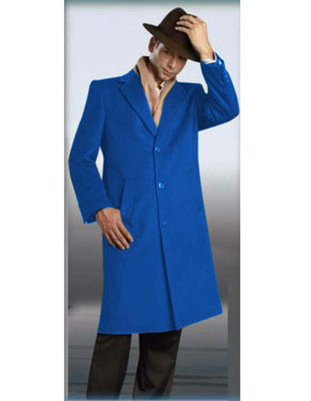 Mens Sapphire Authentic Alberto Nardoni Brand Full Length Coat Topcoat