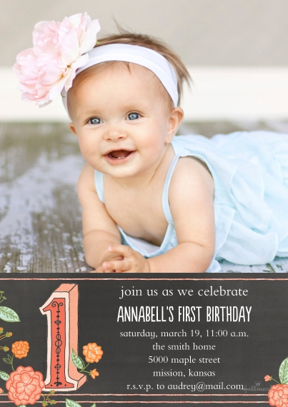 1st Birthday Invitations 5x7 Cards, Premium Cardstock 120lb with Elegant Corners, Card & Stationery -Floral & Linework 1