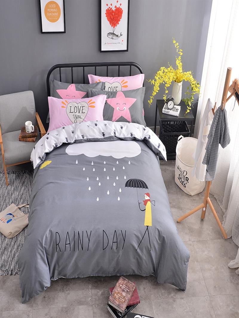 Vivilinen Clouds Printed Cotton Gray Kids Duvet Covers/Bedding Sets