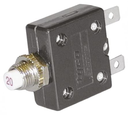 TE Connectivity W54 Single Pole Thermal Magnetic Circuit Breaker - 250V ac Voltage Rating, 5A Current Rating