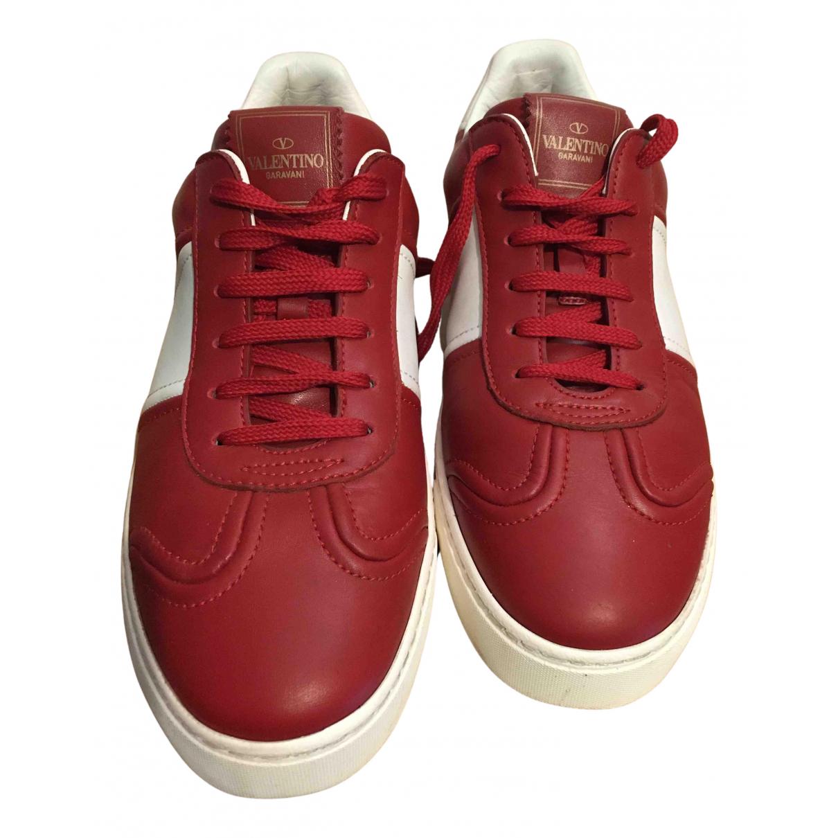 Valentino Garavani Rockstud Red Leather Trainers for Women 40 EU
