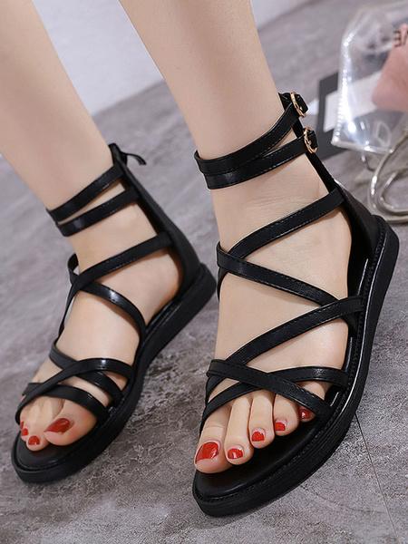 Milanoo Sandalias planas con tiras Sandalias de gladiador de playa Zapatos de mujer