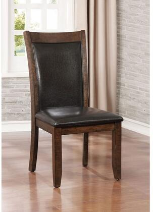 Meagan I Collection CM3152SC-2PK Set of 2 Side Chair with Tapered Legs  Padded Leatherette Cushions in Brown Cherry