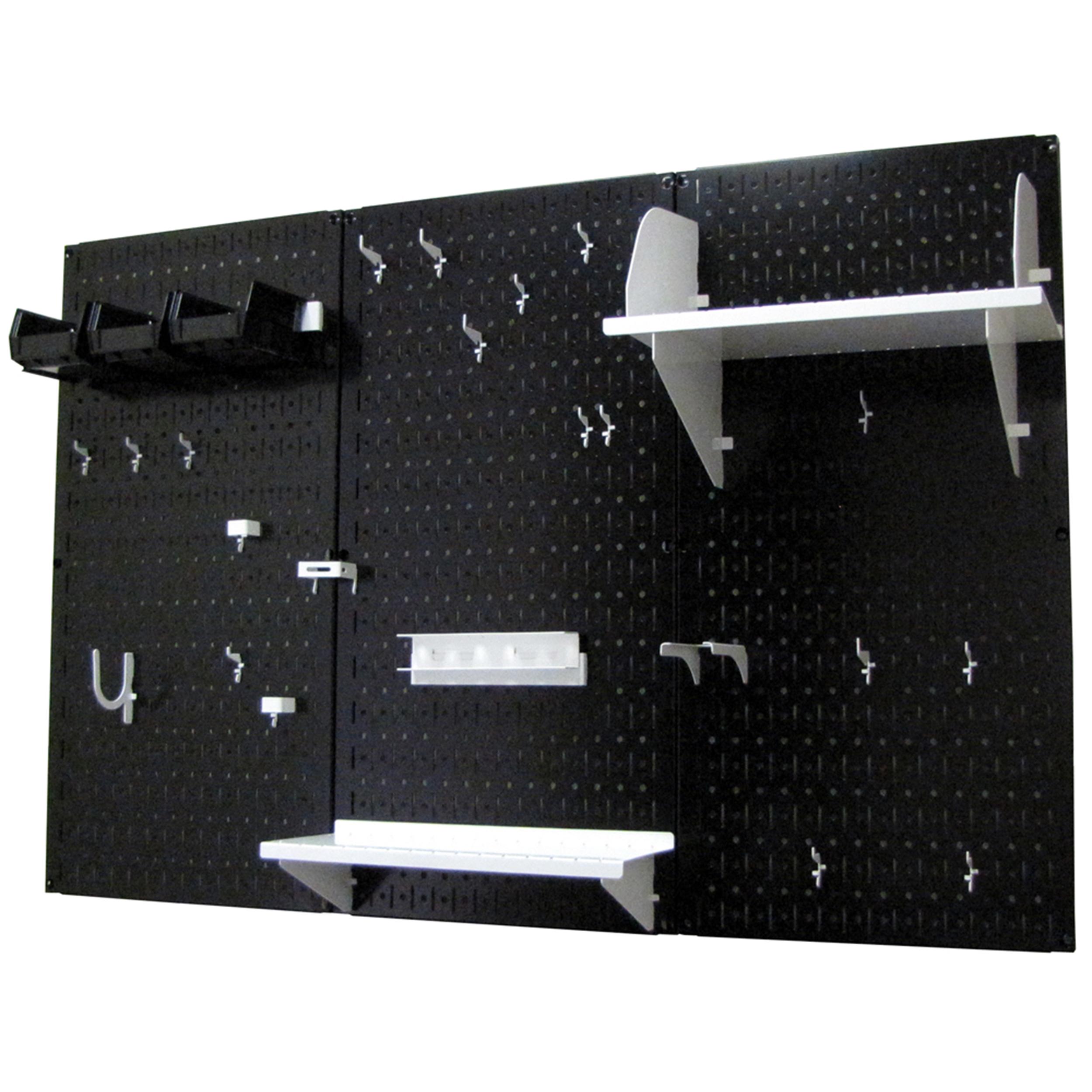 4' Metal Pegboard Standard Tool Storage Kit - Black Toolboard & White Accessories