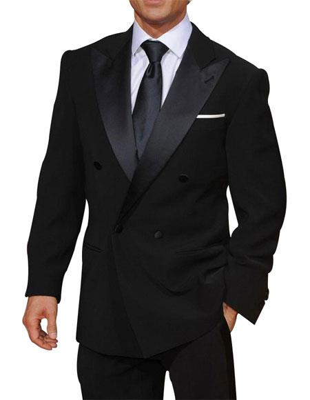 Men's Double Breasted Navy Blue Peak Lapel Button Closure Suit