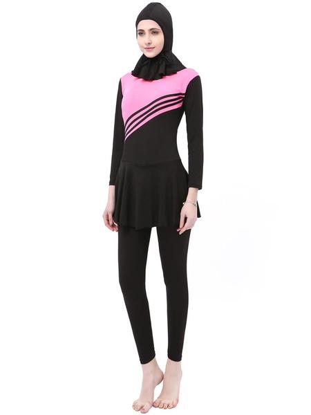 Milanoo Women Muslim Burkini Swimwear Long Sleeve Two Tone 3 Piece Beach Bathing Suit