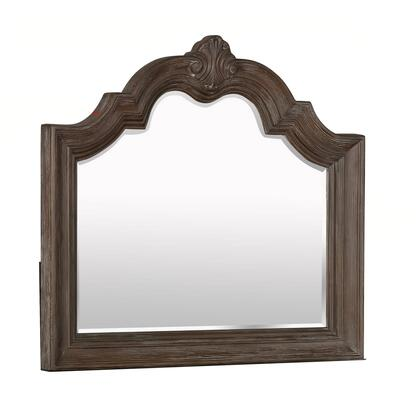 BM215369 Scalloped Design Wooden Frame Mirror with Crown Top  Antique Brown -