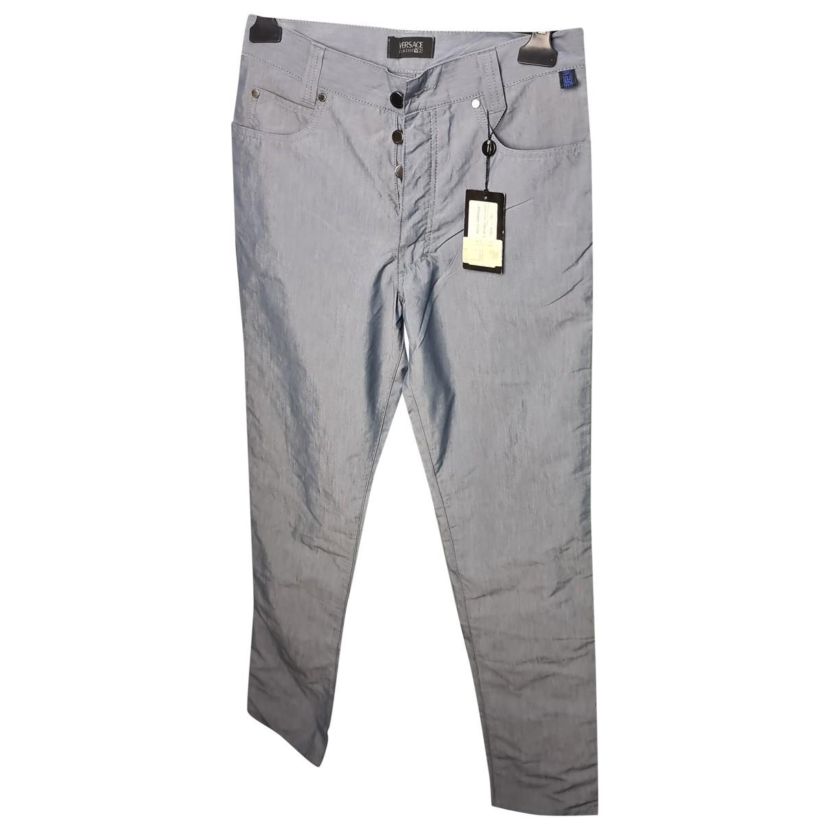 Versace \N Hose in  Grau Baumwolle