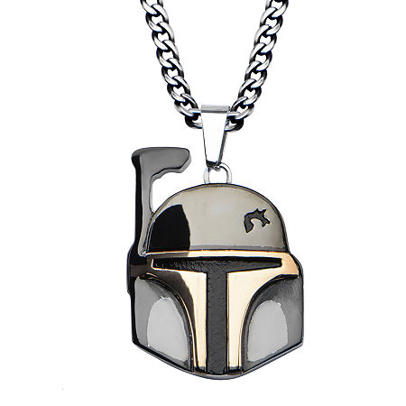 Star Wars Boba Fett Mens Two-Tone Stainless Steel Pendant Necklace, One Size , No Color Family