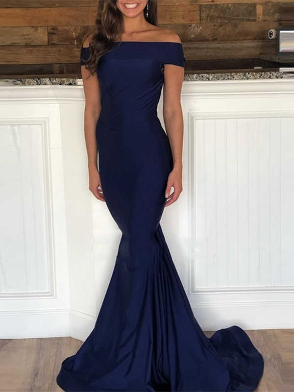 Ericdress Off-The-Shoulder Sleeveless Floor-Length Trumpet Evening Dress