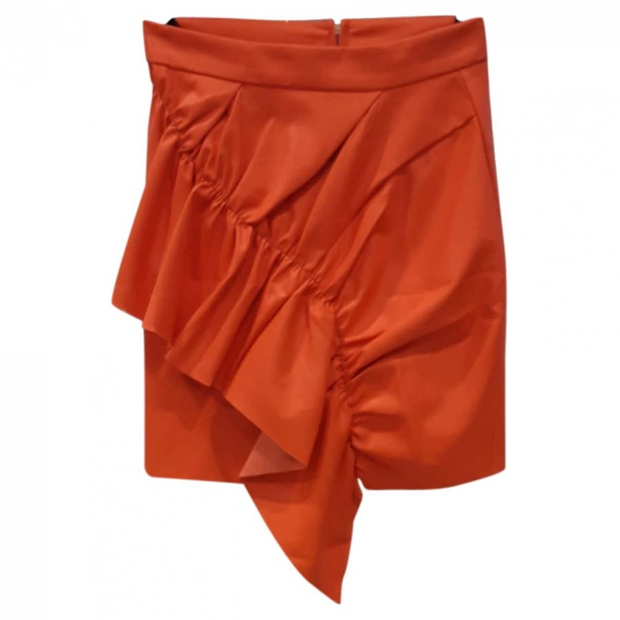 - Jupe   pour femme en cuir - orange