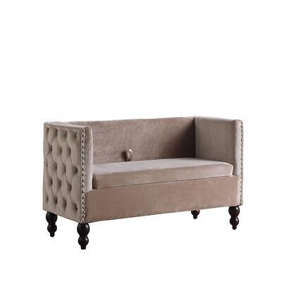 BM204208 Velvet Upholstered Side Tufted Wooden Loveseat with Storage