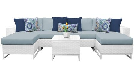 Miami MIAMI-07b-SPA 7-Piece Wicker Patio Furniture Set 07b with 2 Armless Chairs  2 Ottomans  1 End Table  1 Left Arm Chair and 1 Right Arm Chair -