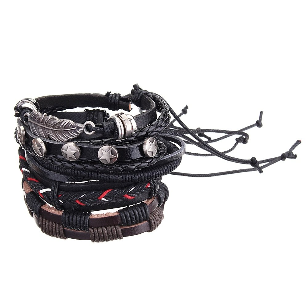 Vintage 5PCS Bangles Bracelets Leather Wave Feather Wax Rope Multilayer Bracelet Jewelry for Men