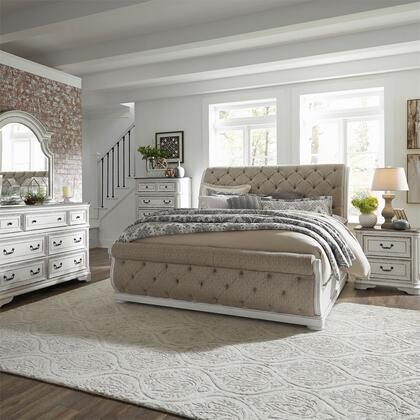 Liberty Furniture 244-BR-KUSLDMCN 5 Piece Bedroom Set with King Size Upholstered Sleigh Bed  Dresser and Mirror  Chest  Nightstand in Antique White