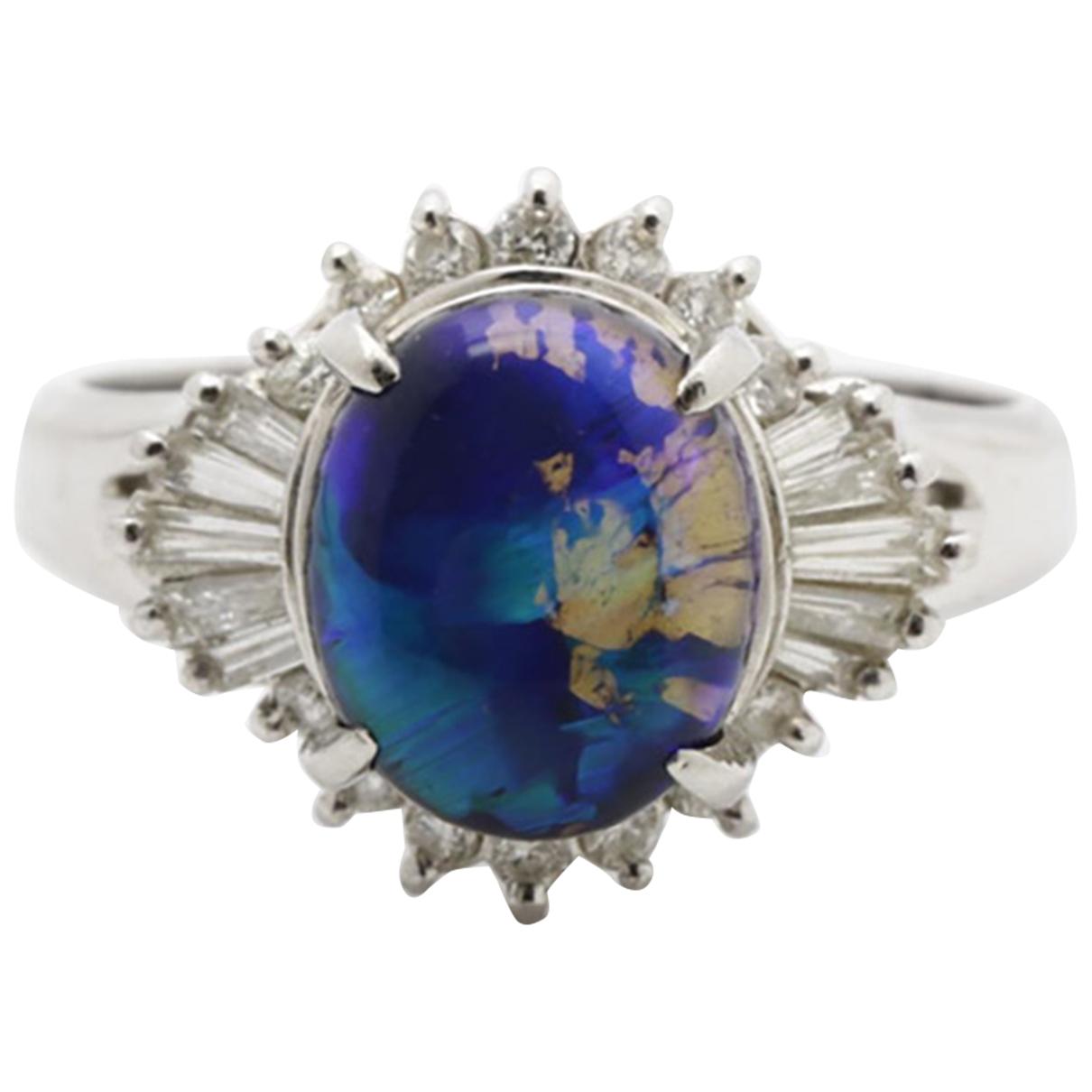 - Bague Opale pour femme en platine - bleu
