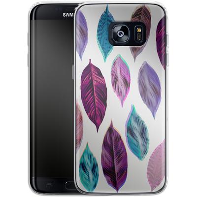 Samsung Galaxy S7 Edge Silikon Handyhuelle - Pink Leaves 2 von Mareike Bohmer
