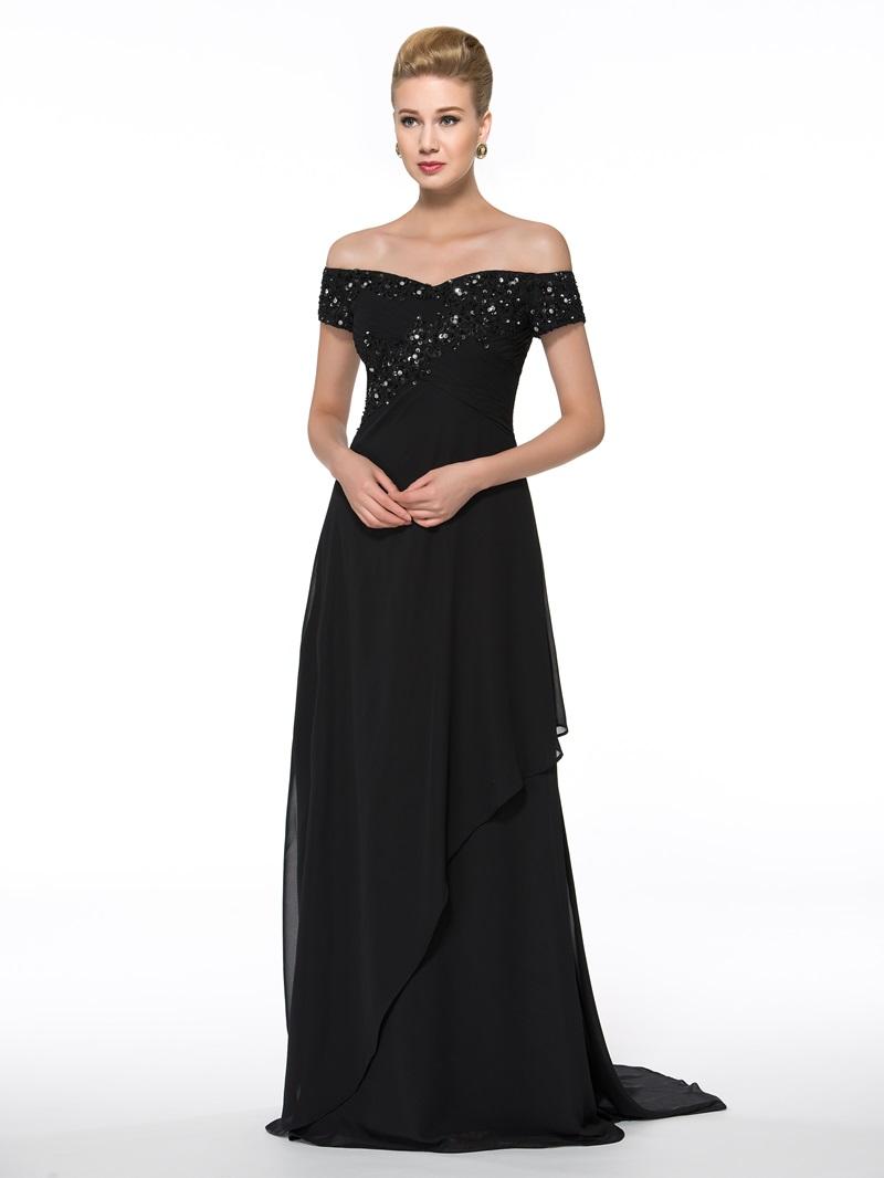 Ericdress Off the Shoulder Appliques Sequins Mother of the Bride Dress
