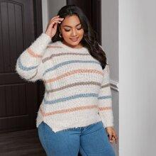 Plus Split Hem Striped Sweater