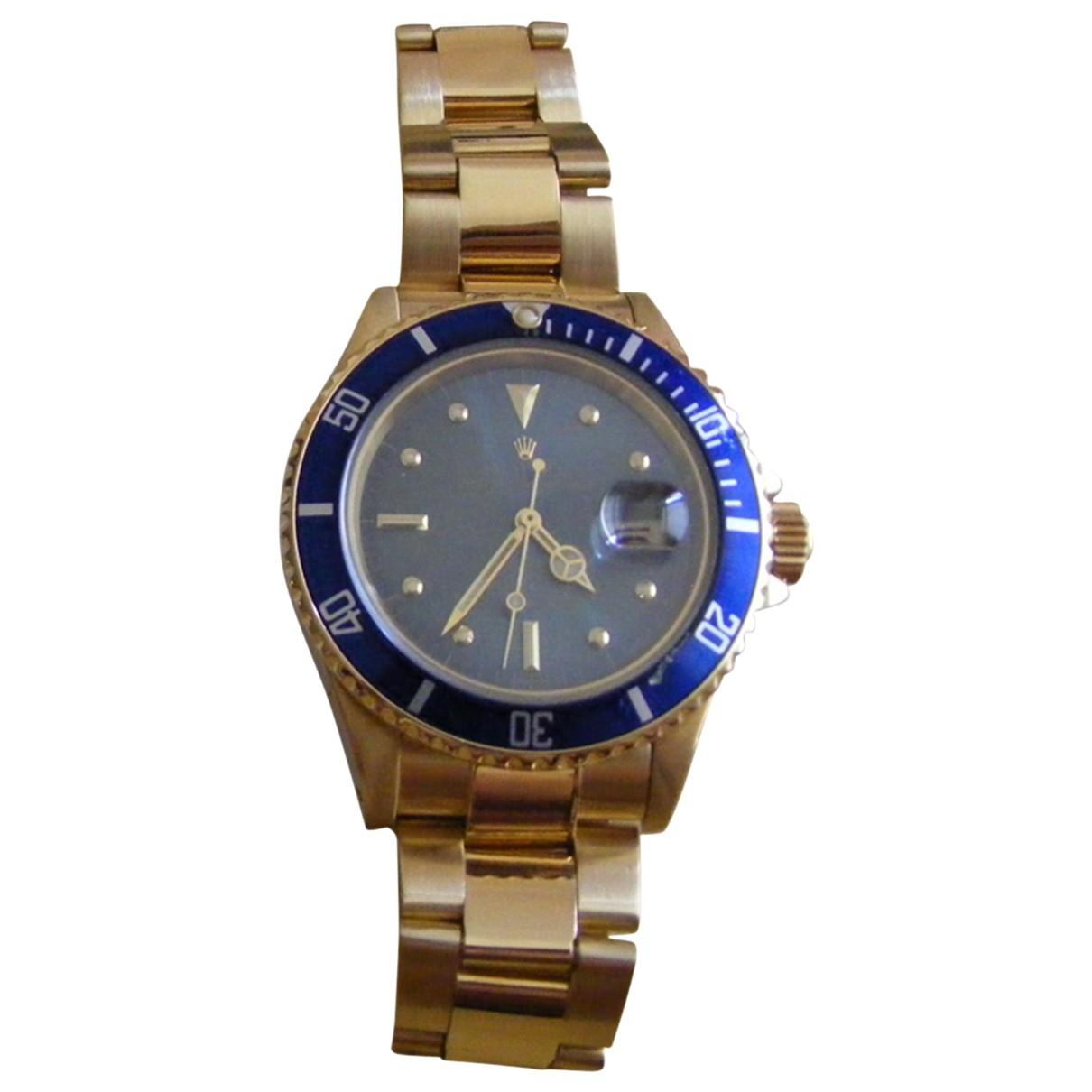 Rolex - Montre Submariner pour homme en or jaune - bleu