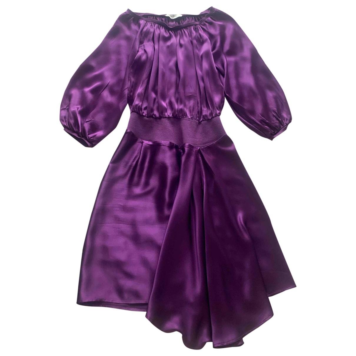 Yves Saint Laurent - Robe   pour femme en soie - violet