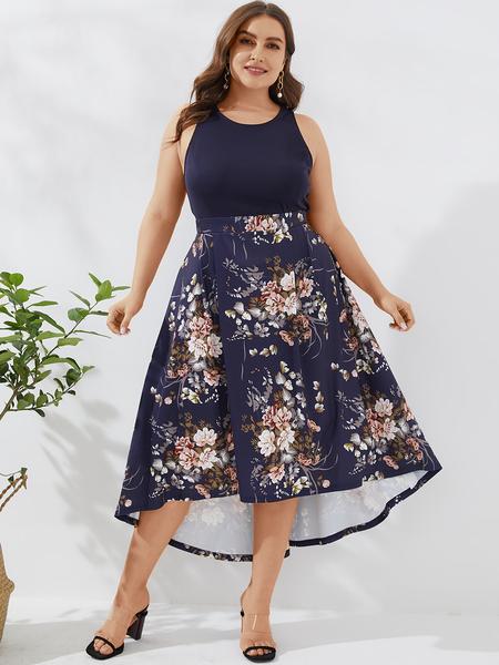 YOINS Plus Size Navy Random Floral Print Sleeveless Dress