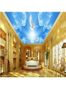 3D Blue Sky Doves Printed PVC Waterproof Sturdy Eco-friendly Self-Adhesive Ceiling Murals