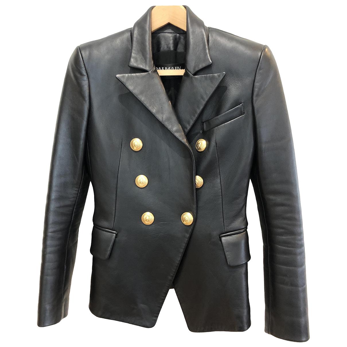 Balmain - Veste   pour femme en cuir - noir