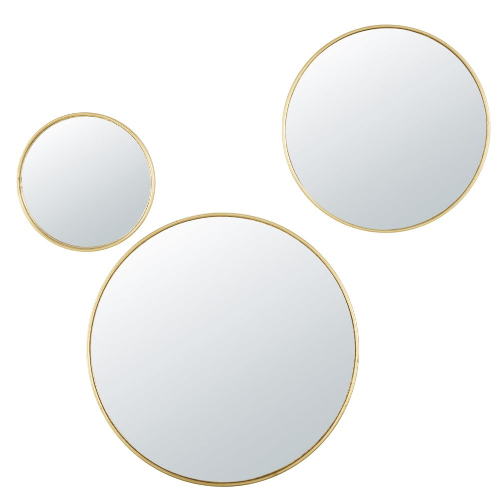 Runde konvexe Spiegel aus Metall, goldfarben (x3)