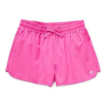Xersion Little & Big Girls Adjustable Waist Running Short, Medium (10-12) , Pink