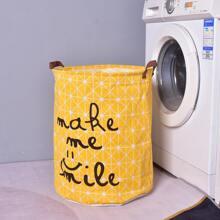 Letter Graphic Clothes Storage Basket