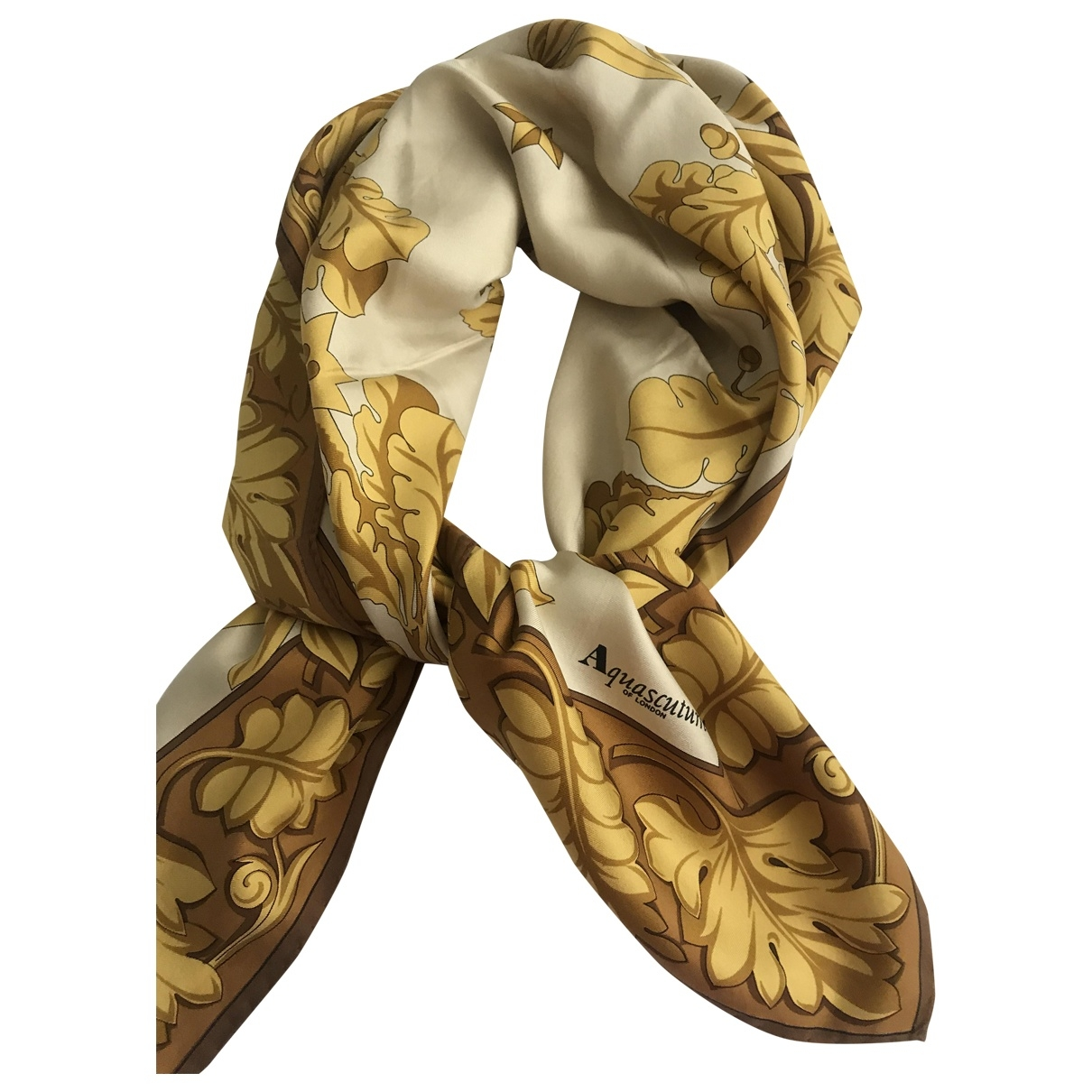 Aquascutum - Foulard   pour femme en soie - jaune