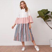 Flounce Sleeve Striped Panel Shirt Dress