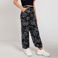 Hose mit Drachen Muster, Kordelzug auf Taille und schraegen Taschen