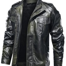 Men Zip Up Flap Pocket Front PU Leather Jacket